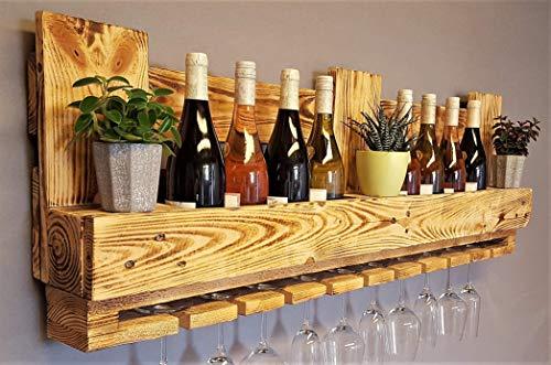 Weinregal Palette beflammt vintage für 10 Weingläser incl. Aufhängung Schrauben &...