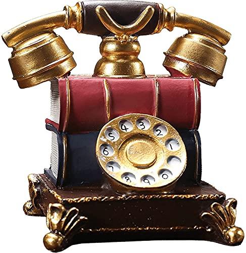 WQQLQX Statue Vintage Telefon Statue Handwerk Harz Kreative Skulptur Dekoration Home...