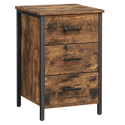 VASAGLE Nachttisch mit 3 Schubladen, Nachtkommode, Beistelltisch, Schlafzimmer,...