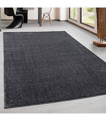 Teppich Kurzflor Modern Wohnzimmer Einfarbig Meliert Uni günstig Versch. Farben -...