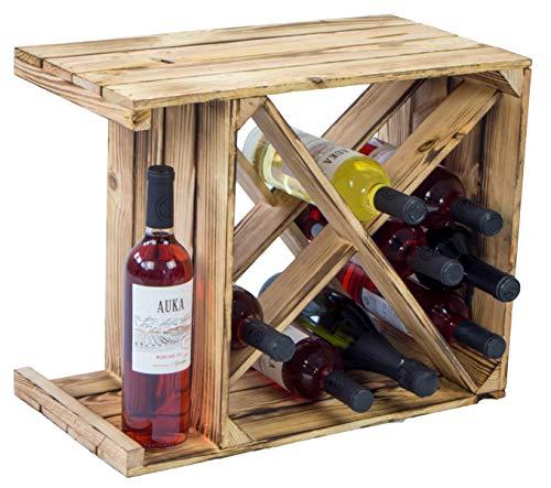 Weinregal Flaschenregal X geflammt 50x40x27cm Regalkiste Weinkiste fertig montiert!