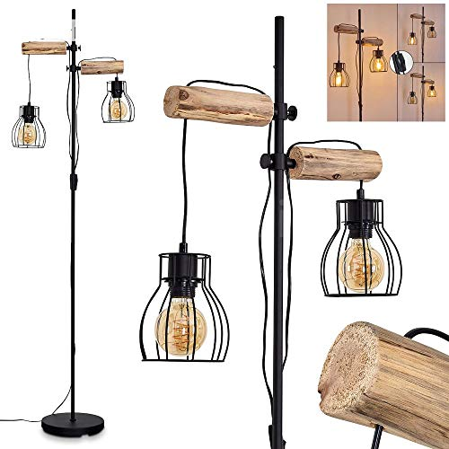 Stehlampe Gondo, Vintage Stehleuchte aus Metall/Holz in Schwarz/Natur, 2-flammig, 2 x...