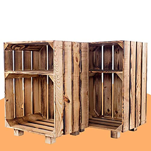 Vintage-Möbel24 GmbH 2ER Set - NACHTTISCH MIT Boden IN *GEFLAMMT* 30,5X40X54CM,...