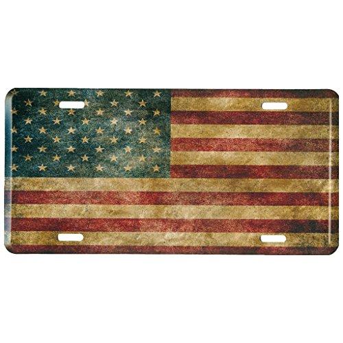 American Flag Metall vorne Nummernschild, Vintage USA Auto Tag für Auto, LKW,...