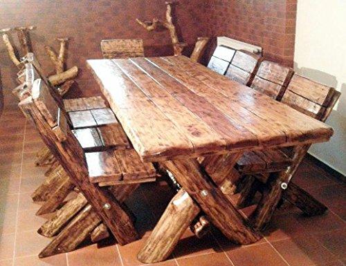 Casa Padrino Esszimmer Set Rustikal - Tisch + 6 Stühle - Eiche Massivholz - Echtholz...