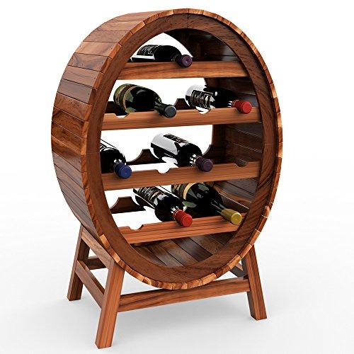 Deuba Weinregal aus Holz für 12 Flaschen Weinfass Design Höhe 90cm - Weinständer...