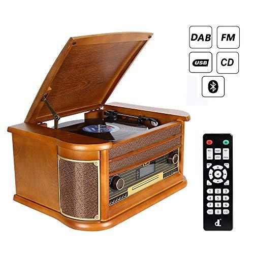 Plattenspieler 7-in-1 Vinyl Turntable de dl Record Player Vintage Holz mit Bluetooth,...