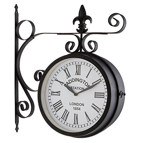 blumfeldt Paddington Uhr Retro-Wanduhr Bahnhofsuhr (doppelseitig, schmiedeeisernes...