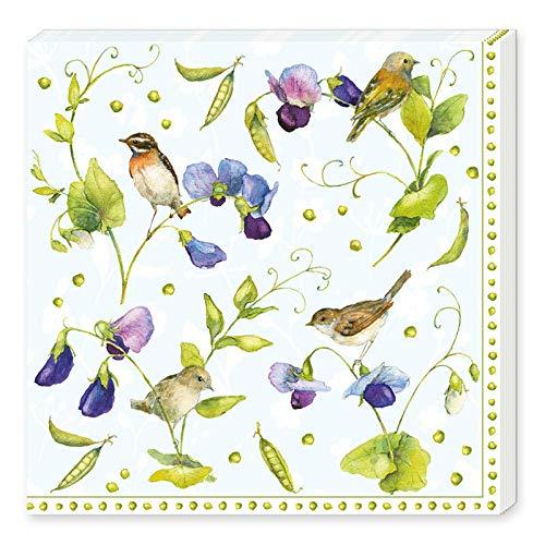 Grätz Verlag 20 Stück Servietten mit Blumen und Vögeln, Blume, bunt, weiß, blau...
