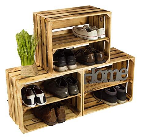 3 x Schuhschrank Schuhregal aus geflammten Holzkisten Schuhablage für 12 Paar Schuhe...