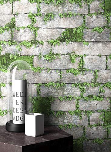 NEWROOM Steintapete Tapete Grau Mauer Stein Modern Vliestapete Grün Vlies moderne...