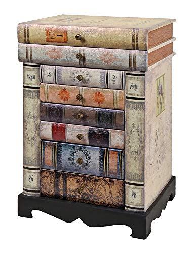 ts-ideen Design Kommode Bücherregal Schrank im Vintage Antik Buch Look Nachttisch...