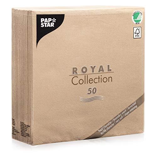 50 Stoffähliche Stoffoptisch Hochwertige Servietten ROYAL-Collection 1/4-Falz 40x40...