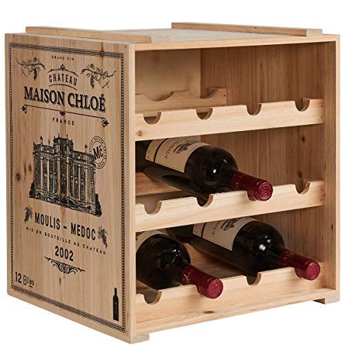 BUTLERS Vinothek Weinregal 36x32x39 in Natur - Hochwertiges Flaschenregal aus Holz -...