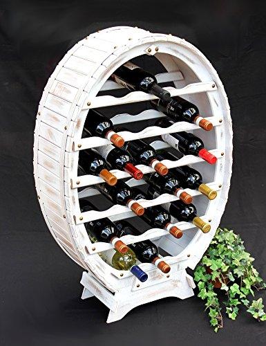 DanDiBo Weinregal Weiss Weinfass aus Holz für 24 Flaschen Vintage Shabby Chic...