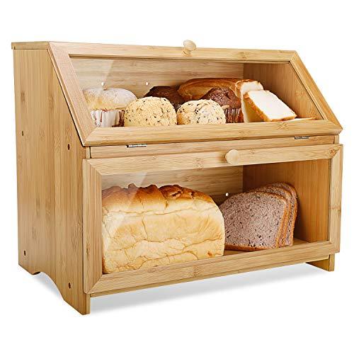 Leader Accessories Brotkasten Bambus Brotbehälter lebensmittelecht Brotaufbewahrung...