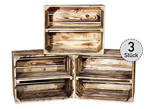 3er Set kleine geflammte Kiste für Schuhregal und Bücherregal - Obstkiste flambiert...
