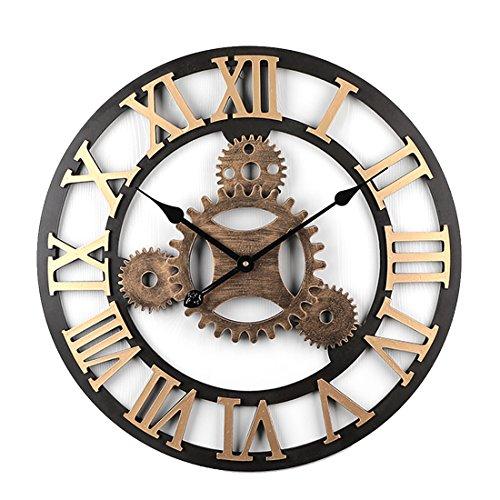 TENGER Retro Uhr Große Wohnzimmer Wanduhr XXL Vintage Lautlos Uhr 3D Dekorative...