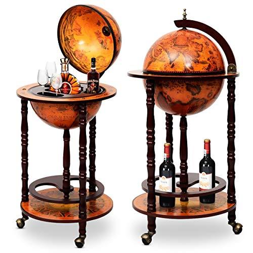 DREAMADE Globus Bar Barwagen, Minibar Globus Hausbar, Servierwagen mit antikem...