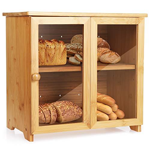 Brotkasten,Bambus Brotkästen,Brotschränkchen/Brotbehälter Holz mit transparentem...