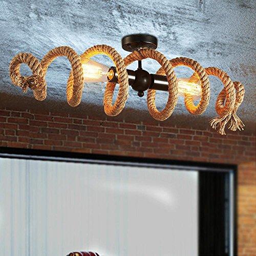 Hanfseile Deckenleuchte Retro, Vintage Ring Seil Deckenlampe - Industry Decorative...