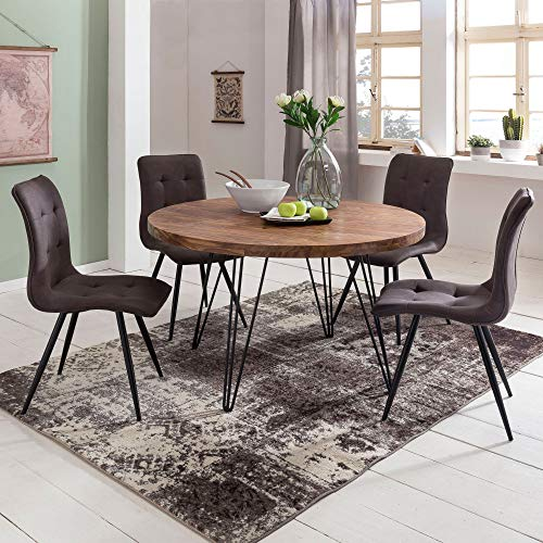 FineBuy Design Esszimmertisch BAGLI rund Ø 120 x 78 cm Sheesham Massiv-Holz  ...