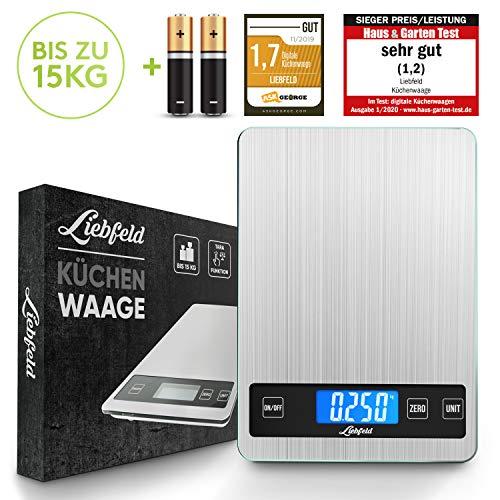 Liebfeld - Digitale Küchenwaage bis 15kg aus Edelstahl mit großer Wiegefläche + 2...