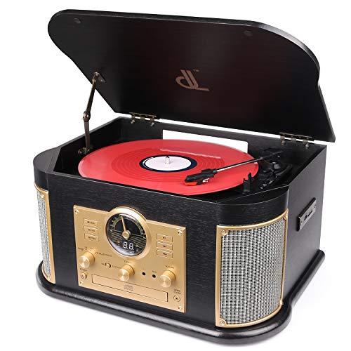 Plattenspieler mit Bluetooth 2*9W Hohe Energie-Lautsprecher, Vintage-Holz-Vinyl- und...