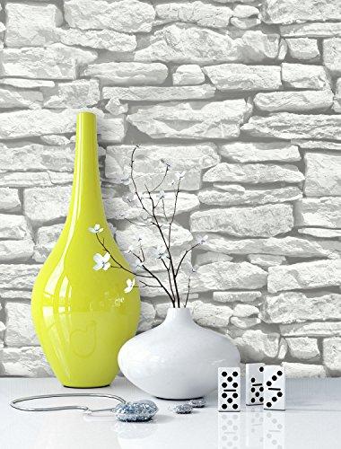 Steintapete in Weiß | schöne edle Tapete im Steinmauer Design | moderne 3D Optik...