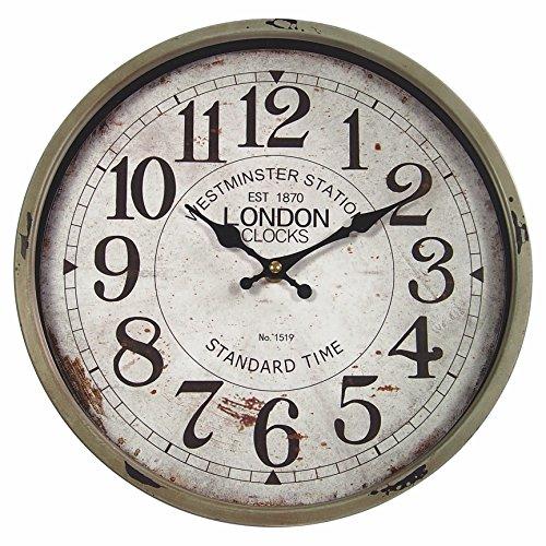 perla pd design Metall Wanduhr mit Glasscheibe Vintage Design London Farbe schlamm...