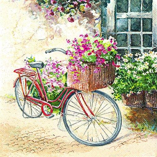 20 Servietten Flowerbike – Blumenfahrrad / Blumen / Fahrrad / Vintage 33x33cm