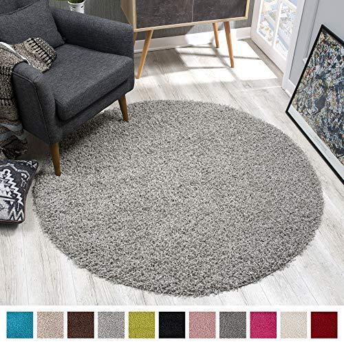 SANAT Teppich Rund - Hellgrau Hochflor, Langflor Modern Teppiche fürs Wohnzimmer,...