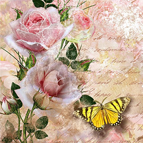 20 Servietten Schmetterling an Rosen / Blumen / Tiere / Vintage 33x33cm
