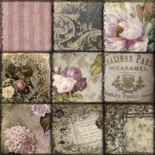 efco Serviette 3 - lagig, Vintage Collage Paris, 33 x 33 cm, 20 Stk., grün - rosa