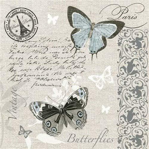 20 Servietten Schmetterlinge auf Postkarte im Vintage Stil für Decoupage und...