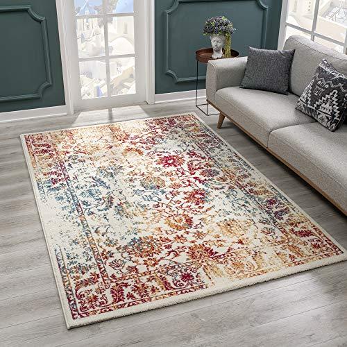 SANAT Teppich Vintage - Modern Teppiche für Wohnzimmer, Kurzflor Teppich in...