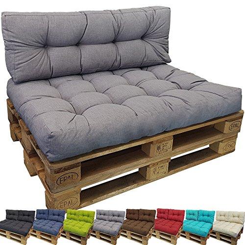 DILUMA Palettenkissen Comfort Sitzkissen 120x80 cm Grau - Palettensofa Indoor/Outdoor...