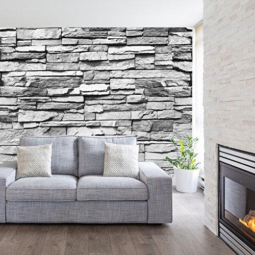 murimage Fototapete Stein 3D 274 x 254 cm inklusive Kleister Steinwand Schwarz Weiß...