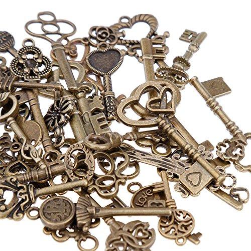 GOLDGE 80er Vintage Deko Schlüssel Bronze Schlüssel Retro Anhänger für Halskette...