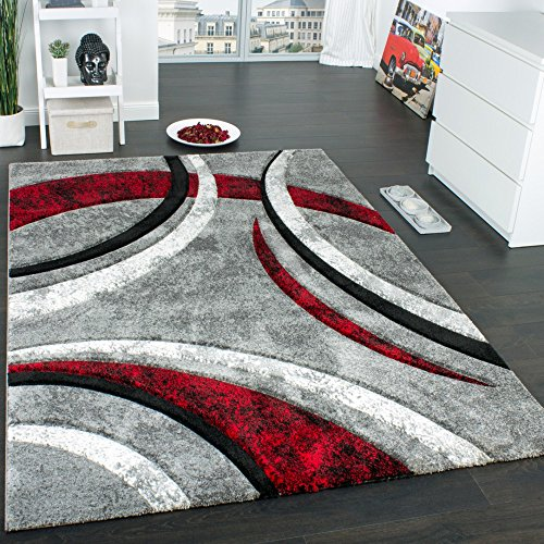 Paco Home Designer Teppich mit Konturenschnitt Muster Gestreift Grau Schwarz Rot...