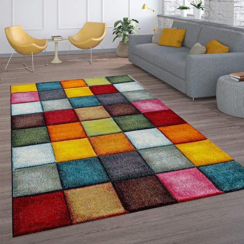 Paco Home Kurzflor Wohnzimmer Teppich Bunt Karo Design Vierecke Mehrfarbig...